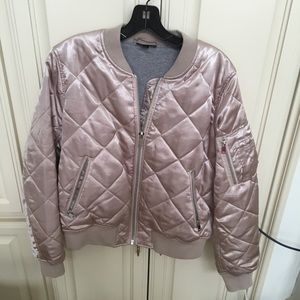 Topshop Quilted Blush Bomber Jacket US 10